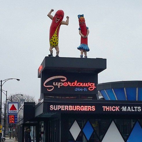 """Superdawg Drive-In  6363 N. Milwaukee, Norwood Park """"Best hot dog and fries anywhere, served in a box. Car hop service by the best hops ever. The place is living history."""""""