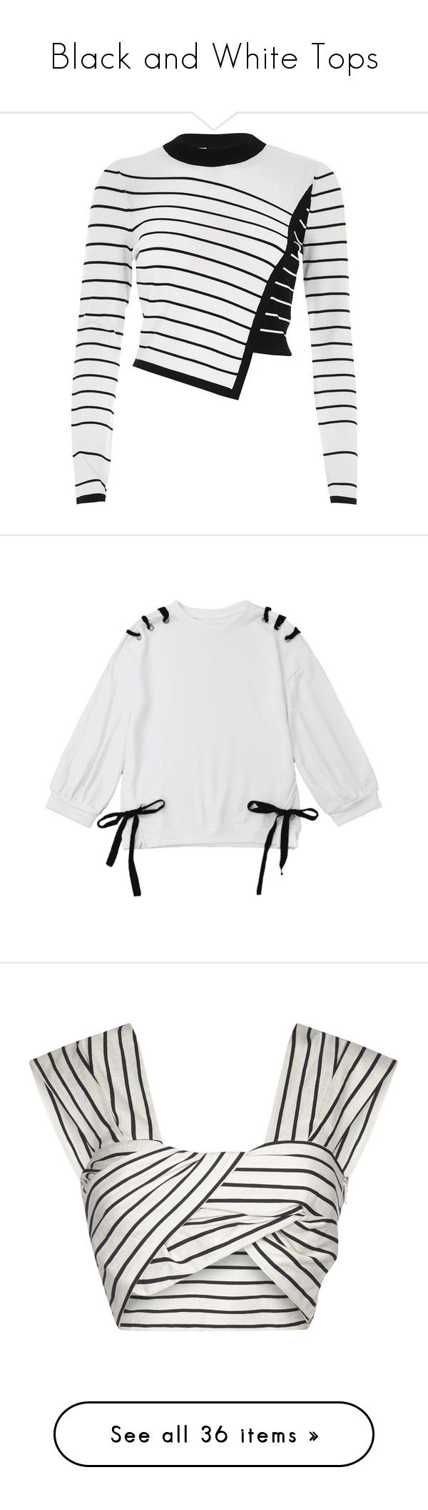 """""""Black and White Tops"""" by kikikoji ❤ liked on Polyvore featuring tops, sweaters, long sleeves, knitwear, sale, white, women, white long sleeve sweater, white sweater and knit crop top"""