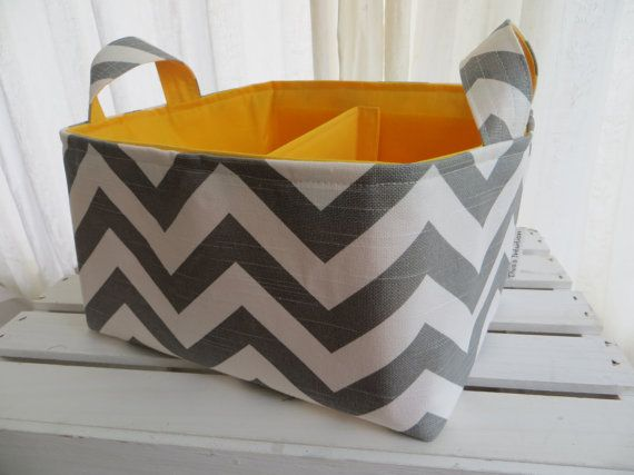 Diaper Caddy Fabric Basket bin with adjustable by DivasIntuition, $42.00