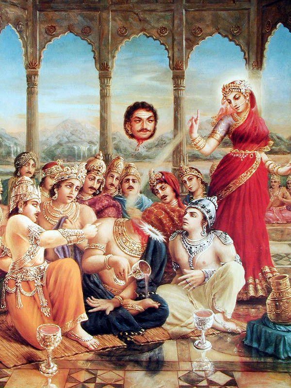 Mohini-murti beheads the Rahu demon. Artist: Jadurani devi dasi.