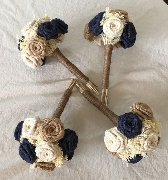 Natural, Ivory, and Navy Bridesmaid Bouquet! 100% handmade, including each flower!  Order 6 months in advance before your wedding date! Spring and Summer weddings should prepare earlier if possible! Everything is handmade by me, so I normally only accept a certain quantity of orders per month.  I do deposits of 20-50% - and have 8 different sizes available! I accommodate everyone from budgeted wedding to those looking to splurge!