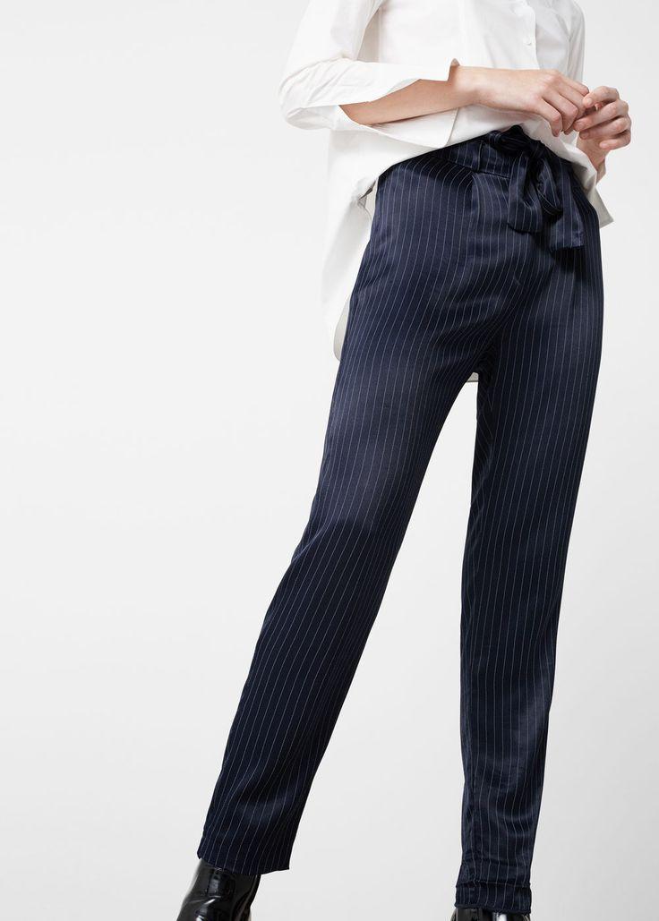 Satin striped trousers - Pants for Woman   MANGO USA