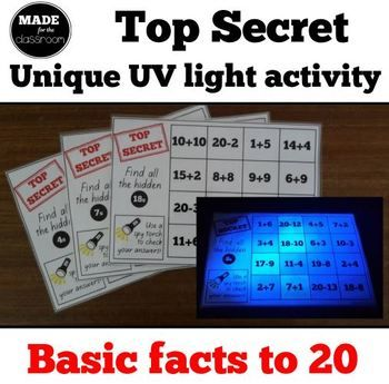 Top Secret - UV light activity, addition and subtraction facts to 20