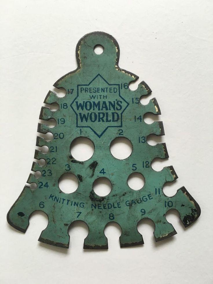 Knitting Calculator Gauge : Old vintage woman s world bell knitting needle size gauge