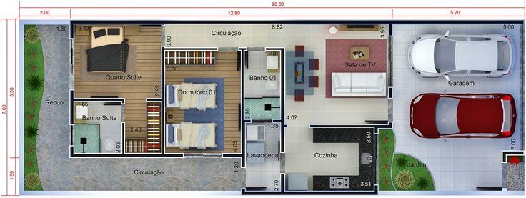 planos de casas 7x20 gratis