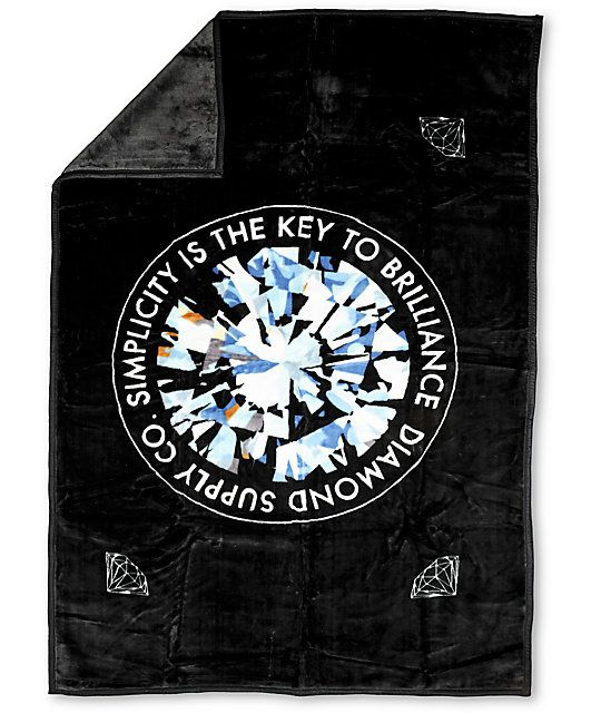 Keep it simple and look brilliant with the Diamond Supply Co Simplicity king size fleece blanket. This large black blanket has the Brilliant Diamond Supply logo on the front of a super soft polyester blanket that measures 5 feet by 7 feet big enough cover