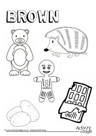 Brown Things Colouring Page Preschool Coloring Pages