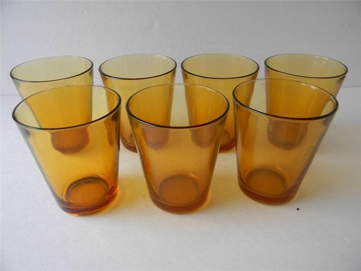 Lot of 7 Vintage Vereco 7 oz Amber Brown Small Juice Glass France Glassware #Vereco
