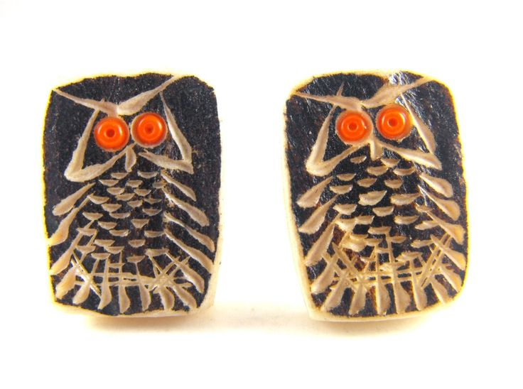 Carved Owls Cuff Links Signed Tosh NWT Northwest Territories Canada Beach Flotsam by hipcricket on Etsy