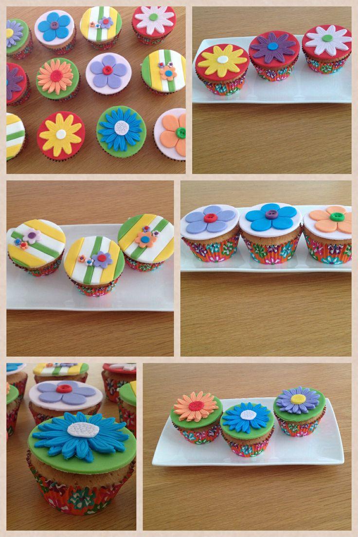 Vrolijke, kleurrijke, zonnige cupcakes www.cakesenjoy.blogspot.com
