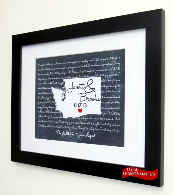 Framed Chalkboard Map: Washington Wedding Print ANY State Song Lyric Vow Unique Anniversary Gift Idea Present Stay With Me Lyrics Wall Art on Etsy, $62.00