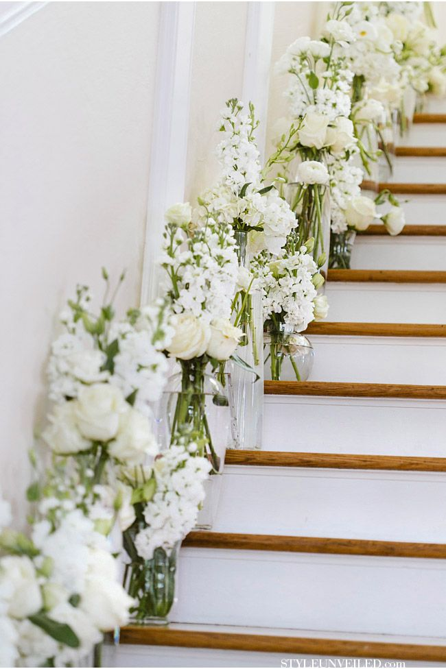 30 best wedding staircase entry images on pinterest wedding wedding decor ideas white flowers decorated the staircase deer pearl flowers junglespirit Images