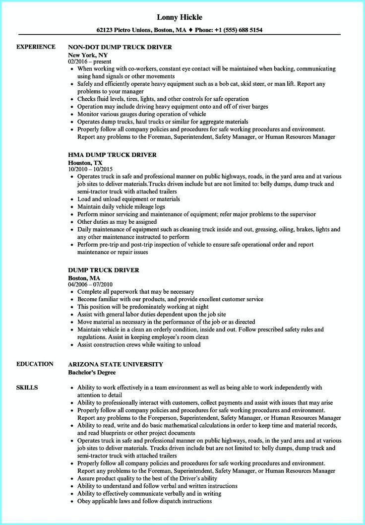 Cdl truck driver job description for resume new truck
