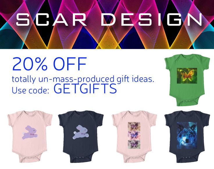 20% off totally un-mass-produced gift ideas. Use code: GETGIFTS at checkout. Baby Onesies by Scar Design #baby #gifs #babygifts #redbubble #sales #save #discount #family #giftsforhim #giftsforher #style #fashion #art #online #shopping #onlineshopping #clothing #babyshowergifts #babyonesie #onesie #tshirt #babytshirt #bunny #cute #wolf #butterfly #babyboy #babygirl