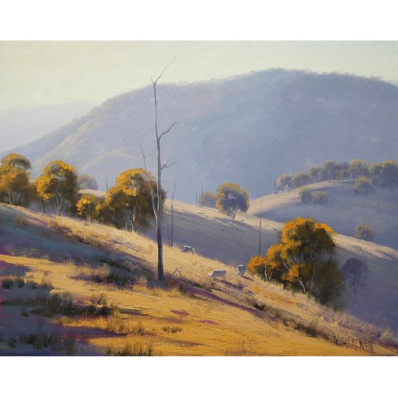 Large 40 SUMMER Oil PAINTING Original AUSTRALIAN Landscape with sheep artwork on canvas by G. Gercken