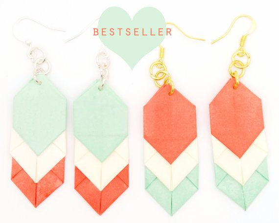 Coral/Mint Chevron Origami Earrings by BirchHandmade on Etsy, £7.00