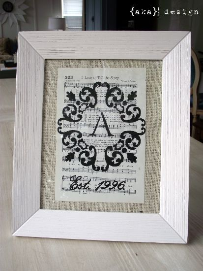 Burlap + vintage sheet music = a lovely piece of art. :)
