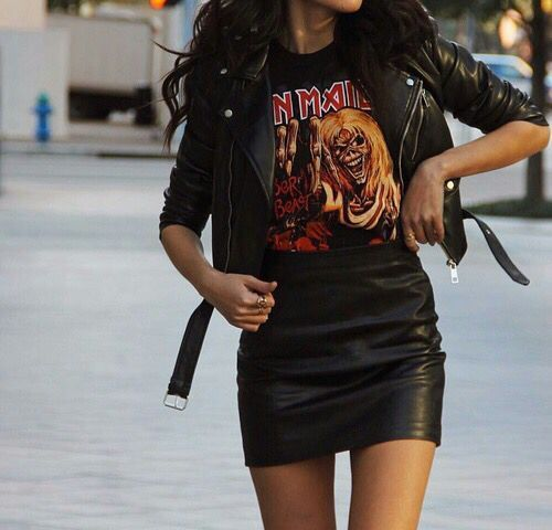 Edgy Outfit Essentials: Leather jacket, leather mini skirt, band tee shirt, off duty model outfit