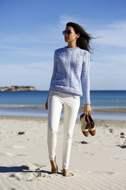 baby blue cable knit, white pants and brogues, love this look
