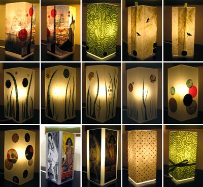 Decoupaged lamps. Ikea hack: start with a Grono lamp, add pictures, place with gel matte, allow to dry, and voila! pARTy : lights