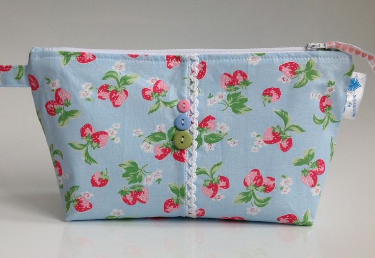 Cath Kidston Strawberry Fabric Cosmetic Bag with Water Resistant Lining - Handmade in Scotland by sewmoira on Etsy