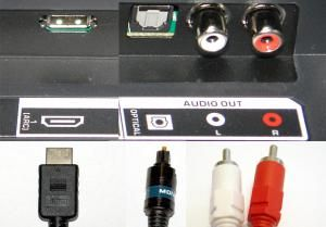 Four Connection Options That Can Provide Better Sound For TV Viewing: TV Audio Output Connection Options - HDMI-ARC, Digital Optical, Analog Stereo RCA