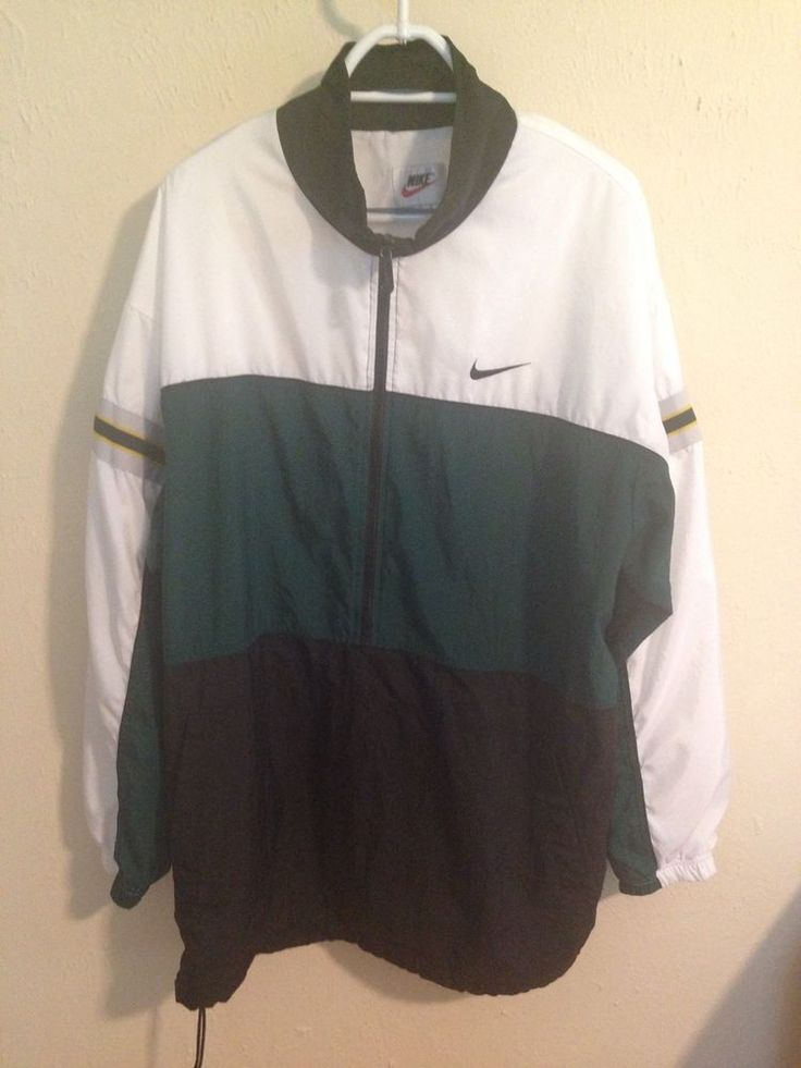 Vintage Nike Men's XL Half Zip Pullover Windbreaker Green Black White #Nike #Windbreaker