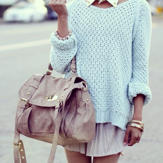 : Sweaters, Pastel, Fashion, Bag, Street Style, Outfit, Collars