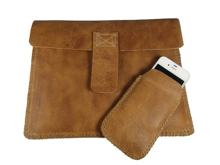Hand Sewn Distressed Tan iPad and iPhone Cover