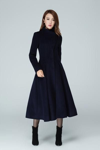 Long Trench Coat Navy Coat Womens Coats Swing Coat 1605