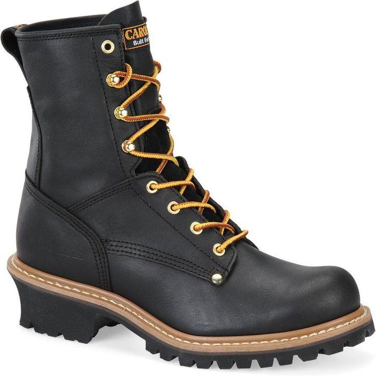 "Men's Carolina Boots CA1825 8"" Logger Safety Steel Toe Work Boot Black Leather D #Carolina #WorkSafety"