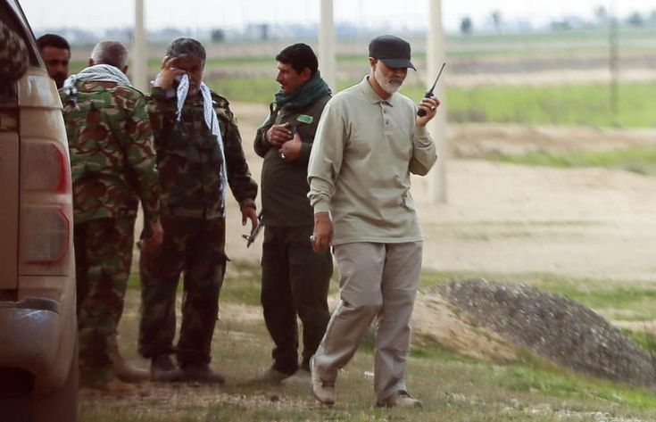 Islamic Revolutionary Guards commander Qasem Soleimani (right) at the front line during offensive operations against ISIS in the town of Tal Ksaiba in Salahuddin Province, Iraq, on March 8, 2015. Kirkuk-Iran runs six military camps near the city of Kirkuk in northern Iraq, including around 1,500 officers and commanders from …#IranDeal spending the money on the military