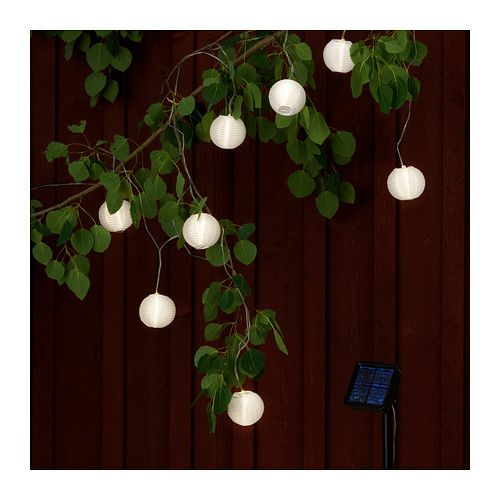 SOLVINDEN Solar-powered light chain, 8 globes IKEA No costs for electricity. The solar panel converts sunlight to energy. $19.99