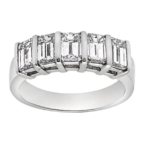 Five Stone Emerald Cut Diamond Platinum Wedding Band 1.25 tcw.