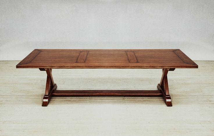 Cherrywood dining table with cross base pedestal to seat 12.  Hand made to order.