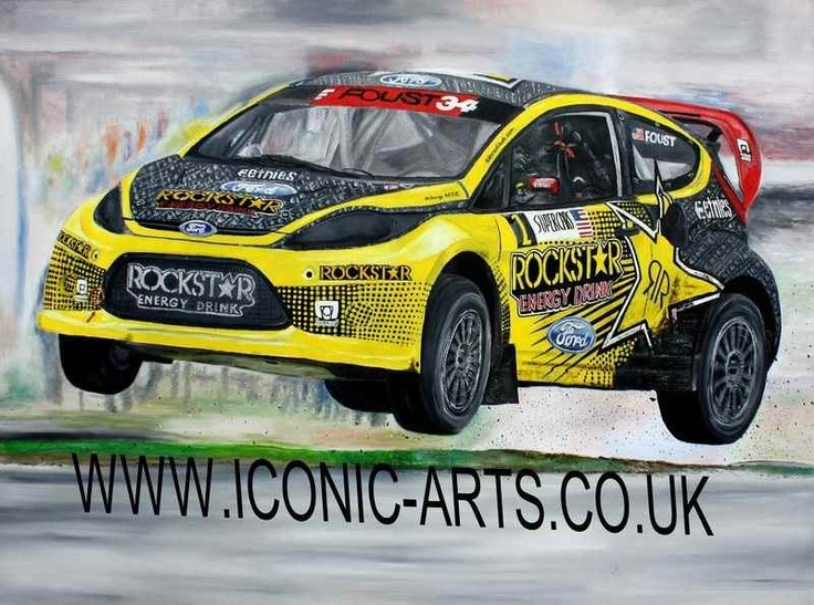 Tanner Foust rallycross oil painting original £800 but prints available on the website shop