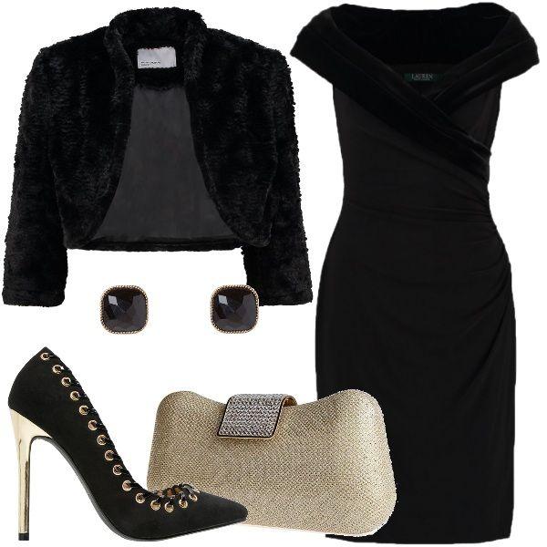 Un+look+da+sera+molto+elegante+e+opulento+adatto+a+occasioni+di+festa+o+eventi+importanti.+Parto+col+descriverti+il+vestito+a+tubino+in+poliestere+in+colore+nero,+ha+lo+scollo+incrociato+impreziosito+da+un+tessuto+veramente+molto+chic,+il+velluto;+completo+con+una+giacca+in+ecopelliccia,+orecchini+con+pietre,+décolleté+con+borchie+e+dettagli+in+oro+e+pochette+rigida.