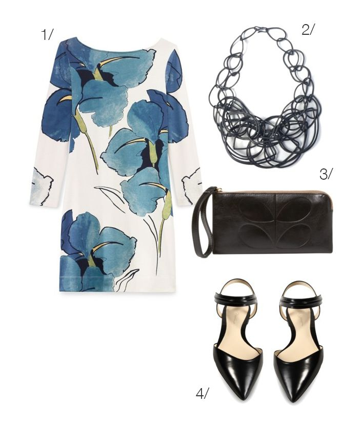 floral print dress with statement necklace // click for outfit details