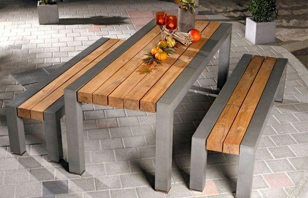 Table En Beton Une Idee D 39 Etablissement Originale Concrete Table An Original Establishment Idea Tab Table Beton Table Exterieur Bois Idees De Meubles