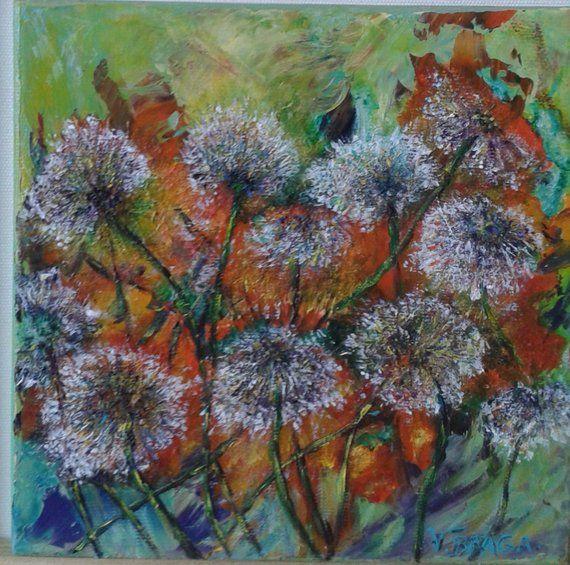 Peinture Fleurs Sauvagesacrylique Sur Toileart Original De Etsy Beautiful Flowers Flowers Painting