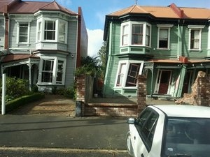 Tilting houses, Christchurch 22 Feb 2011. Chester Street East (my old Hood).