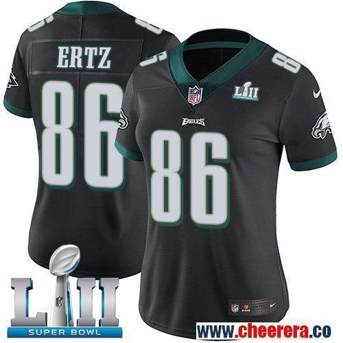 Nike Eagles 86 Zach Ertz Black Women 2018 Super Bowl LII Vapor Untouchable Player Limited Jersey