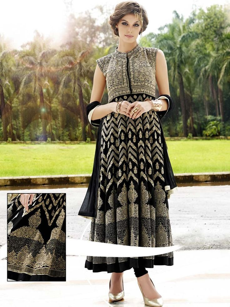 Fabulous black color sleeveless anarkali with glossy kundan and thread work. Item code: SLANA10151 http://www.bharatplaza.com/new-arrivals/salwar-kameez.html