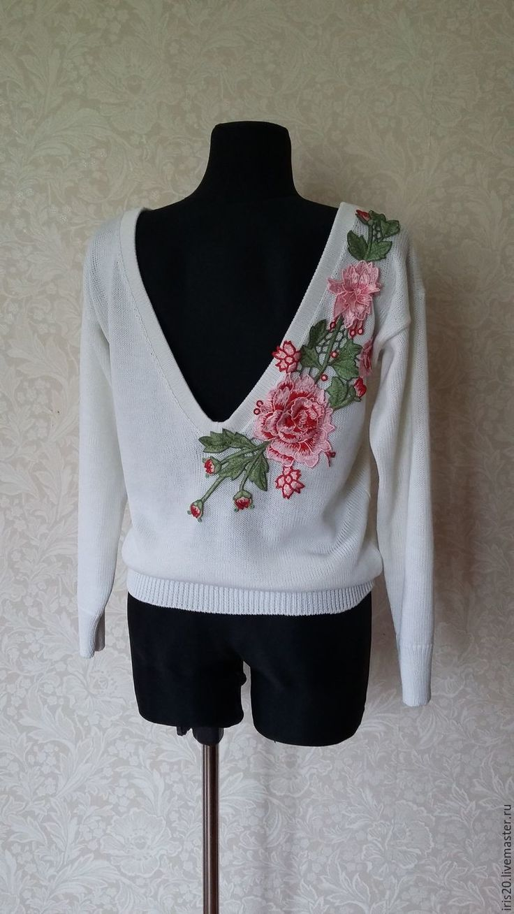 Купить свитерок с вышивкой - белый, свитер вязаный, свитер, свитер женский, свитер теплый