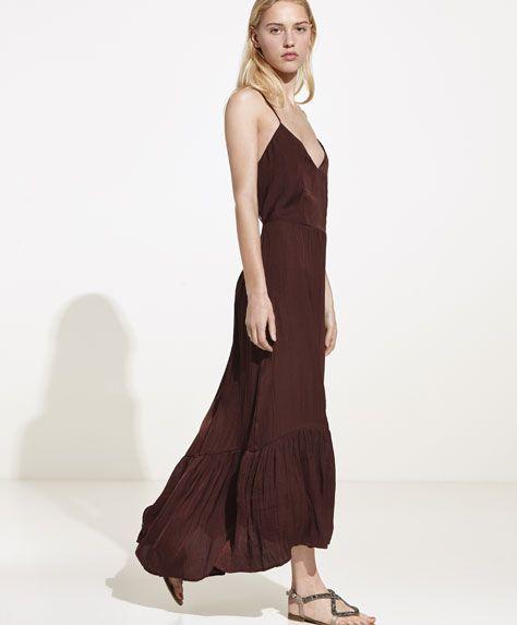 Frilled glossy dress -  | Oysho United Kingdom
