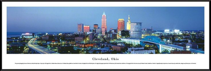 Cleveland Skyline Panoramic Picture Framed, Ohio