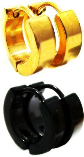 Set of 2 Pairs Leverback Earrings: Polished Semi-Matte Yellow Gold & Black Huggie Hoop Earrings, Leverback Hinge Clasp, Anodized Hypoallergenic 316L Stainless Steel, 1/2 Inch Length (13 MM) Ziva, LLC. Save 61 Off!. $15.99. Hypoallergenic Stainless Steel won't irritate ears. Get 15% off your order when you order 2 or more items sold by Ziva, LLC (20% for 4 or more)-use claim code SHOPZIVA at checkout. Product photos are of the actual item you'll be receiving; no computer gener...