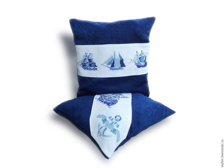 Купить Подушки декоративные На всех парусах, подушки в подарок, морской стиль - подушки синие