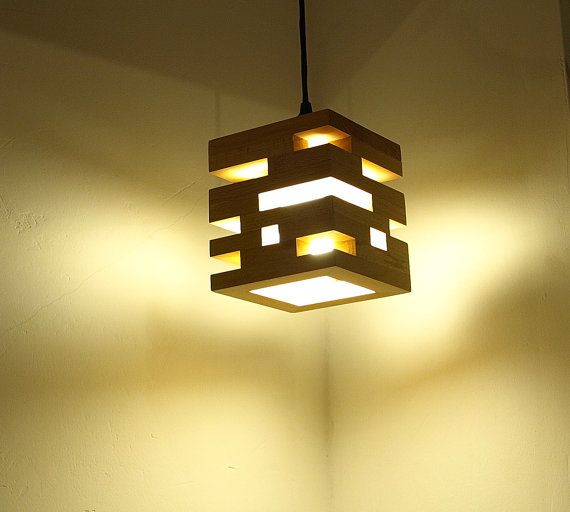 Wooden pendant lamp  Cubique Mini by MustHaveRo on Etsy
