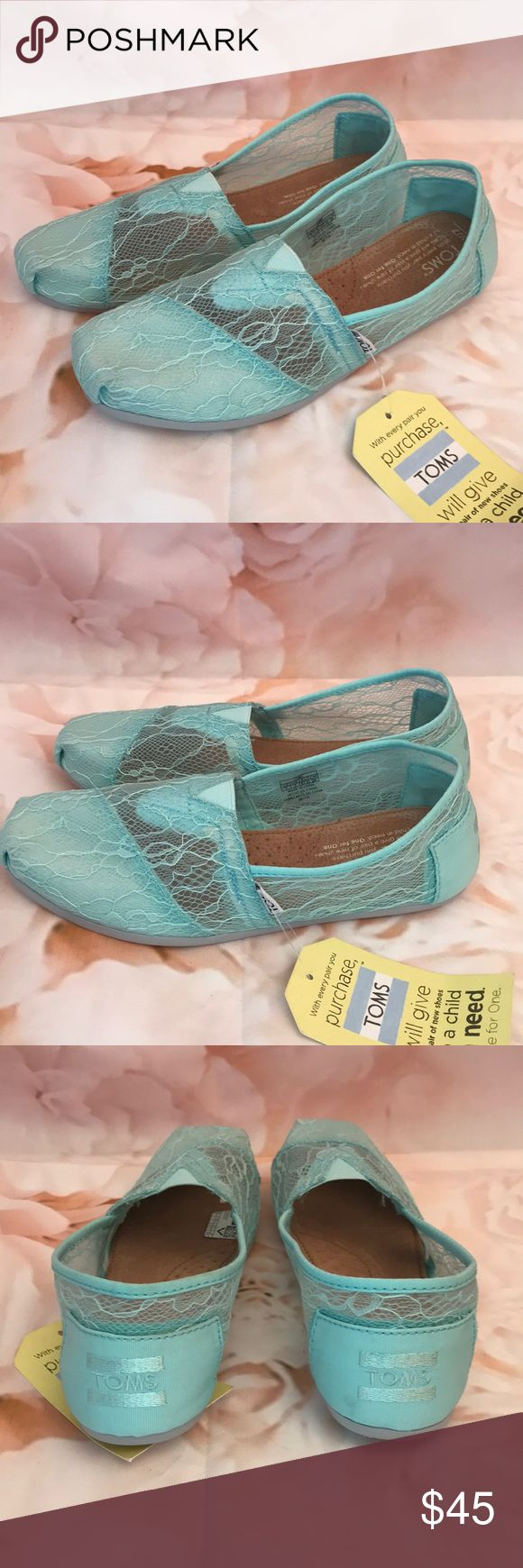 Lace TOMS New without box lace TOMS. Very cute and comfortable. Although these are new with tags there is some minor scuffing at the bottom of the shoe. Otherwise in excellent condition. These shoes go with everything! Toms Shoes Flats & Loafers